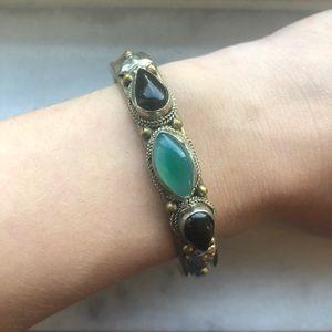 Onyx & Jadeite Bracelet Cuff Silver Copper Brass